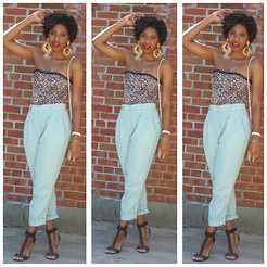 Monroe Steele - American Apparel Linen Pants, Urban Outfitters Bustier Top, Thrifted Earrings, Boutique 9 Linya Shoes - Baby blue linen