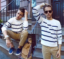 Adam Gallagher - International Playground Stripe Sweater, Khakis, Similar Here  > Bag, Vans Boat Shoes, Tko Watch, Aviators - Stripe Sight