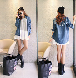 Seung Yeon - Itsmestyle Fringe Denim Nb - Rainy Day Outfit No.2