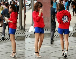 Sarah Tirona - Persun Keep Watch Red Hoodie, Persun Blue Origami Shorts - Keep watch
