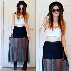 Agata P - Black Mesh Maxi Skirt, Primark Top, Primark Hat - Whispers In The Dark