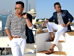 Paul Ramos - H&M N.Blue Blazer, H&M Blue&White Henley, H&M White Trousers, H&M Gladiator Sandals, H&M Straw Hat Fedora - Marina Yacht Club