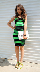 Marina Petrova - Vmzona Strpes Green And Black Dress, H&M White Leather Bag, Local Shop Green Wedge - Green