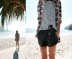 Oraclefox . - Topshop Plaid Shirt, Valley Black Cat Eye Sunglasses, Alexander Wang Striped Tee, Zara Leather Shorts - The Best Things In Life Are Free..