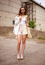 Oogna East - 80's High Waisted Shorts, Feud London Platform Sports Sandals, 70's Straw Bag, Early 90's Pure White Blazer, Pure White Knitted Bralet - White on