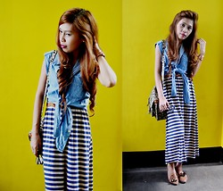 Monelyn B. - Sm Dept. Store Denim Top, Monicas Closet Maxi Stripe Dress, Xoxo Watch, Parisian Shoes, Marikina Bag - Denim and Stripes