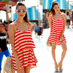 Jessica R. - Red Clover Striped Boardwalk Dress, Target White Sunnies, Hayden Harnett Nude Studded Leather Bag, Shoedazzle Heels - Where's Waldo
