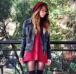 Vi W - Asos Boyfriend Beanie, Yesstyle Long Sleeve Dress, River Island Leather Jacket - Maroon
