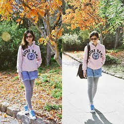 Sue Chung - Notre Dame Jacket, Oversized Denim Shorts, Nike Shoes - Leaves are in the air