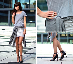 Lucy De B. - Grey, Lace Up Heels - Grey on grey on grey