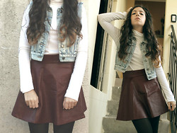 Lessie S - Romwe Oxblood Skirt, Denim Vest - You won't see me