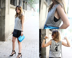 Cabinet in Ruins * - H&M Top, Sandro Skirt, Sandro Clutch, Guess? Sandals - Leather Skirt + Blue!!