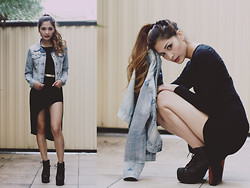 Camille Sioco - Sammy Dress Black, Jeffrey Campbell Litas, Jay Jays Denim Jacket - Slit