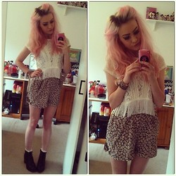 Morgan C - Topshop Fringe Crop, Topshop Playsuit, Topshop Frilly Socks + Boots - Candyfloss