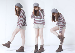 Shaira Luna - The Sm Store Beanie, Thrifted Striped Jumper, Thrifted Plaid Shorts, Dr. Martens Boots - Stripes & Plaid