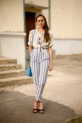Oogna East - Vintage 80's Oversized Blouse, Vintage 70's Striped Highwaisted Trousers, Early 90's Pumps, Vintage 70's Tuquoise Mini Satchel, Vintage 80's Mirror Glasses - Nautical