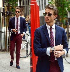 Adam Gallagher - Blazer, Tie, Tie Bar, Rumba Watch, Burgundy Trousers, Clubmasters, Similar Here  > Shoes - Galla takes London