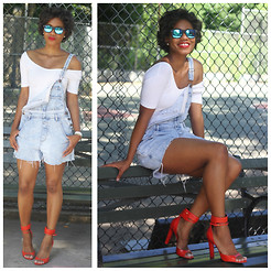 Monroe Steele - Urbas Outfitters Overalls, American Apparel Top, Alexander Wang Shoes - Denim overalls