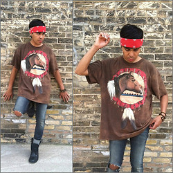 "Balthazar Interrupted - Thrifted ""The Horse"" Acid Wash T Shirt - Indian Casino"