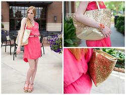 Lea L. - Express Pink Dress, Tj Maxx Coral Wedges, Tj Maxx Gold Purse - Pink with a Touch of Gold
