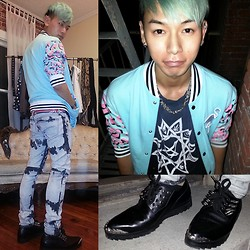 Miju James - Gerlan Jeans Lip Leopard Letterman, Unif Grim Creepers, Kill City Skinny Jeans - Leopard Lips