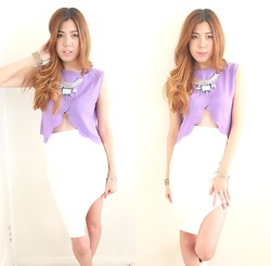 Michelle Chui - Lovisa Bracelet, Chicabooti Asymmetrical Cut Out Skirt, Bardot Necklace, Stylenanda Purple Top - Pastel Purple