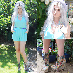 Hannah Cheadle - Topshop Straw Pork Pie Hat, Primark Iridescent Gem Necklace, Topshop Mint Playsuit, Asos Tapestry Wedge Lace Up Boots - LILAC/MINT/TAPESTRY