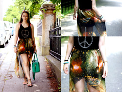 Alix T. - Love Black Peace & Tee, Romwe Galaxy Skirt - Don't save me