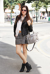 Barbora Drasnarova - Mango Leather Jacket, Mango Skirt, Asos Wedges - 50 shades of grey