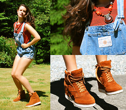 Adi M. - Jeffrey Campbell Shoes, Urban Outfitters Shirt, Value Village Overall Shorts - Make It Bounce!