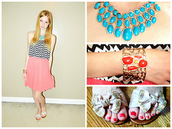 Lea L. - Dillard's Pink Chevron Dress, H&M Blue Necklace, Orange Bracelet, Pink Bow Flats - The Girly-Girl