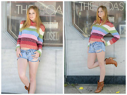 Lea L. - Rainbow Sweater, Torn Denim Shorts, Jessica Simpson Heels - 80's Rainbow