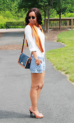 Nimo W - Target Purse, Old Navy Button Down, Balnco Cardigan, J. Crew Shorts - She sells seahorse by the seashore