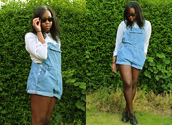 Mwandu S - Ray Ban Sunglasses, Rokit Vintage Dungarees, H&M Sheer Shirt, Underground Creepers - We met by the moon on a silvery lake