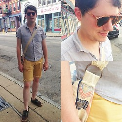 Matthew R - Divided Shirt, Your Neighbors Yellow Cut Off Skinny Shorts, American Apparel Vintage Shades, Local Designer Farm Feed Bag, Vans Shoes - Survival Technique