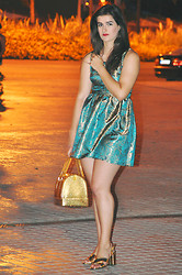 Amanda R. - Local Store Brocade Dress, Furla Candy Bag, Zara Sandals - Golden is for the night