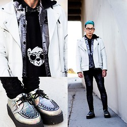 Miju James - Joyrich Bear Face Crew Neck Sweater, T.U.K. Oil Slick Mondo Creepers, Rude Denim Hood Vest - White Black Teddy