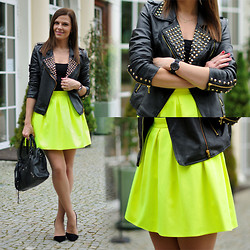 Renata M.. - Vj Style Jacket, Vj Style Bag, Fashion Land Skirt, Mohito Heels - Neon time