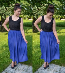 Oona P - Lindex Lace Top, Primark Maxi Skirt, Primark Black Heels - Electric feel