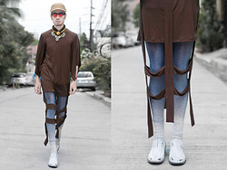 Andre Judd - Dimple Lim Chocolate Brown Tunic Banded Strips, Dimple Lim Ombred Legwear, Maison Martin Margiela Handpainted Slipons, 8th Avenue Accessories Art Deco Neckpiece, The Brand Trunk Lion Pendant, Prettylittlefinds Red Revo Flip Round Frames, Basket Weaved Cap - CHOCOMALLOWS