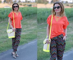 Vale ♥ - Swaychic Ethnic Print Pants, Ash Footwear Sandals, Persun Bucket Bag, Zara Orange Tee, Miu Sunnies - Ethnic print pants