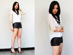 Nadya Joy - Minimal Top, Forever 21 Leather Shorts, Zara Heels - Things Left Unsaid