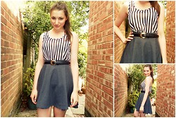 Lucy Amelia - H&M Sheer Striped Top, H&M Grey Skater Skirt, Black Leather Belt (Vintage) - Monochrome Stripes