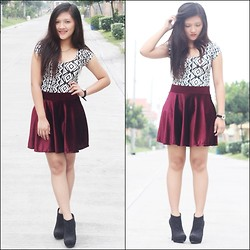 Glaiza Homez - Forever 21 Top, Iaah Skater Skirt, Forever 21 Boots - Party Like a Rockstar