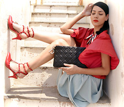 Konstantina Tzagaraki - Frontrowshop Leather Top, H&M Skirt, Christian Dior Purse, Choies Necklace - My name is safe in your mouth..