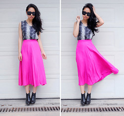 Meijia S - Vintage Hot Pink Skirt - Snakeskin & hot pink