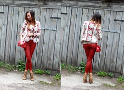 Ula H - Zara Pants, Zara Jacket, Chanel Bag, Zara Boots, Cartier Watch - Lady in red