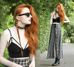Olivia Emily - Choies Sunglasses, Regalrose Aeon Hair Rings, Evil Twin Girl Interrupted Bralet, Minkpink Buttoned Maxi Skirt, Dr. Martens Boots - Aeon.