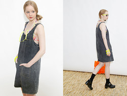 THE WHITEPEPPER - The Whitepepper Denim Pinafore Dress Black, Lazy Oaf Kitty Socks, Juju Jellies Black High Sandals - Denim pinafore