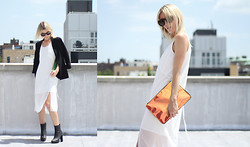 Lela Maloney - Acne Studios Blazer, Steve Madden Boots, H&M White Dress, H&M Hologram Clutch - CATCHING SOME SUN